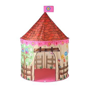 FLOWood Carpa para Niño Castillo de Princesa Tienda Actividades educativas Plegable Tienda Pop-up Castillo, Incluye Bolsa de Transporte (Rose)