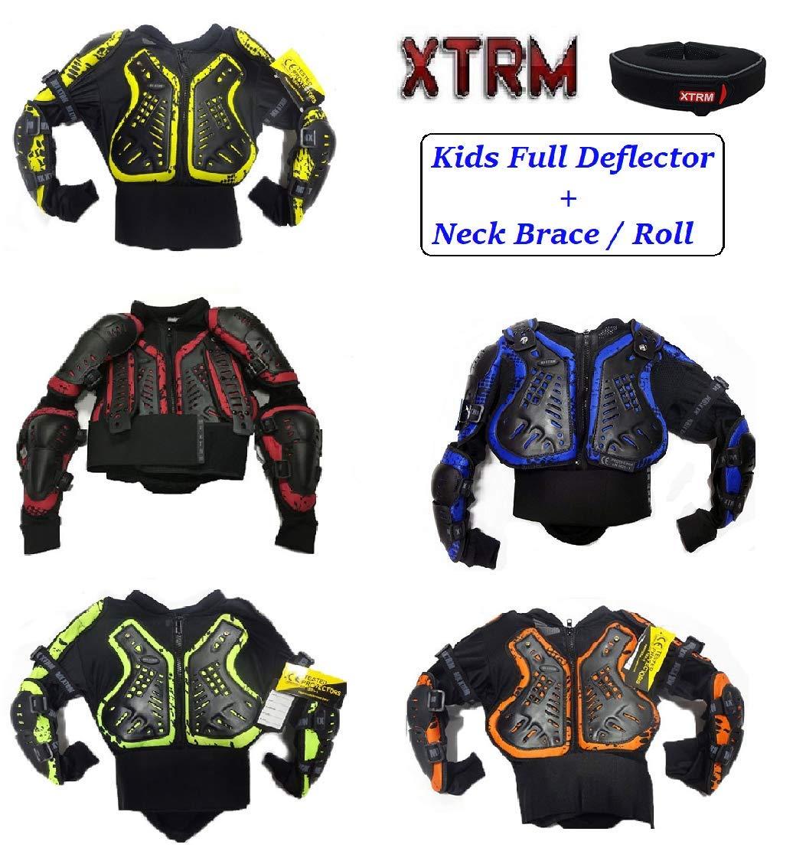 XTRM Kids Mx Kit Body Armour Quad Dirt Bike Junior BMX MTB ATV Off Road Full Deflector Jacket And Neck Brace Collar Safety Roll