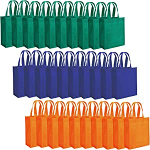 "Tebery 30 Pack Party Bags 8"" x 10"" Non-Woven Gift Bag Tote Bags with Handles Party Favor - Assorted 3 Colors"
