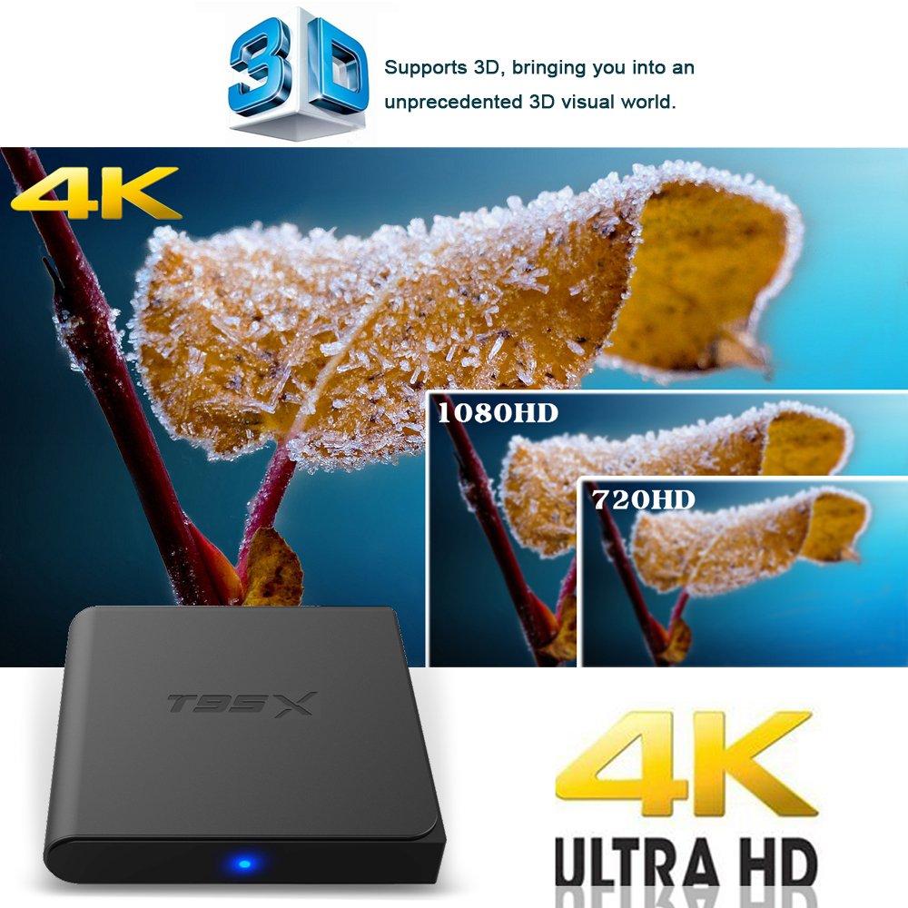 Zenoplige T95X Amlogic S905X Android 6 0 Marshmallow Smart Android TV Box  Quad Core Mali 450 1GB/8GB Wifi 2 4G 10/100M LAN 4K 3D 64 Bits