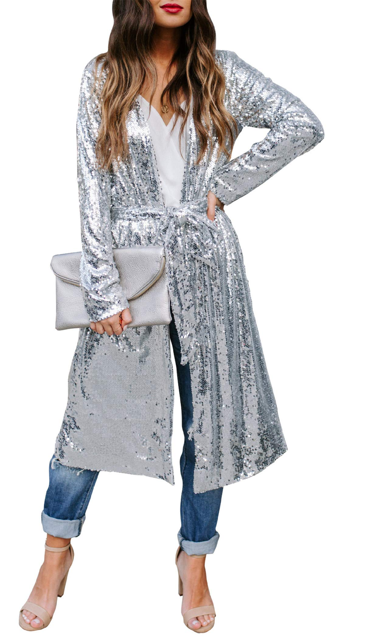 Womens Sparkly Sequins Cover Ups Long Sleeve Slim Fit Open Front Cardigan Coat with Belt