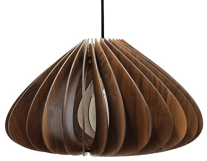 wodewa – Panel Techo Madera I Moderno Plafón Luna I SOSTENIBLE lámpara de techo madera de abedul I Madera Bombilla Regulable LED E27