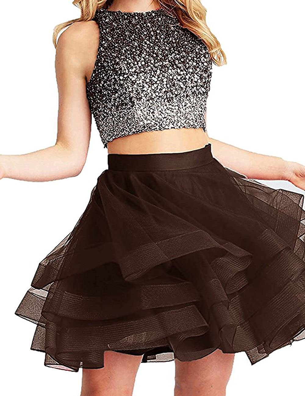 Coffee Beautydress Two Pieces Short Prom Gowns Top Beaded Girls Homecoming Dress