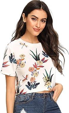 a16d71a431 SheIn Women's Tie Dye Print Round Neck Short Sleeve Crop T-Shirt Top