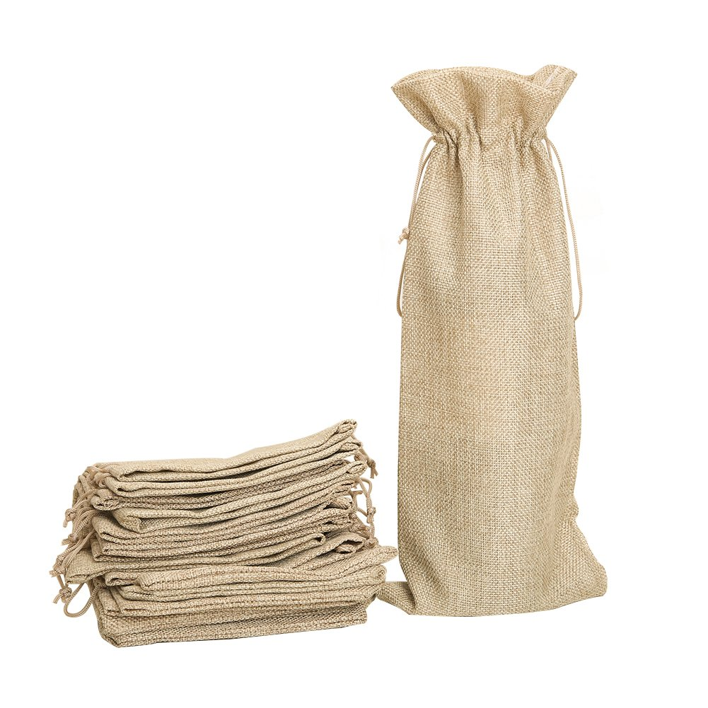 Shintop 10pcs Jute Wine Bags, 13.4 x 5.9 inches Hessian Wine Bottle Gift Bags with Drawstring (Brown)