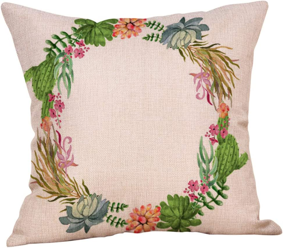 Flower Throw Pillow Cover Floral Pillow Case Square Decorative Cushion Cover for Sofa Couch Home Bedroom Indoor Outdoor Pillowcase 18 x 18 Inch