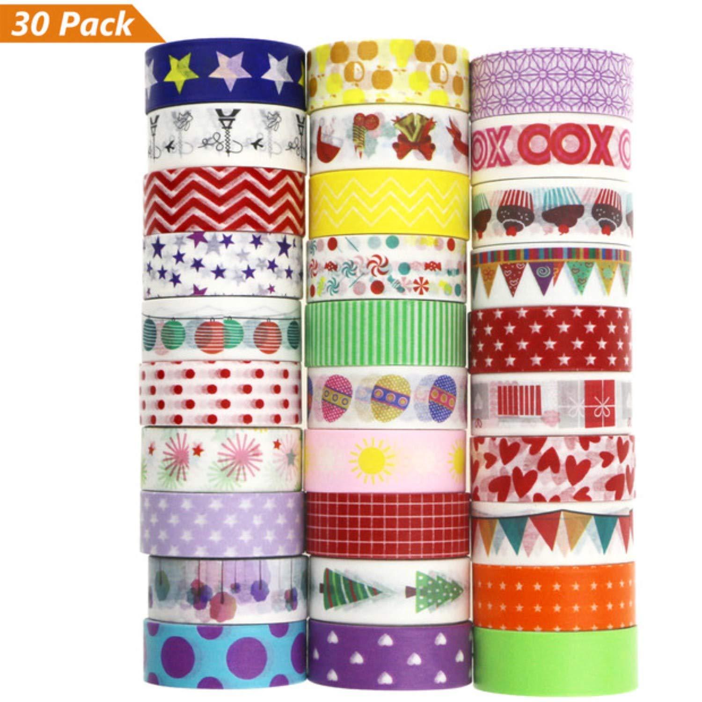 Washi Tape, Buluri 30 rouleaux Washi Masking Tape Adhésif Ruban adhésif pour Scrapbooking Artisanat de bricolage