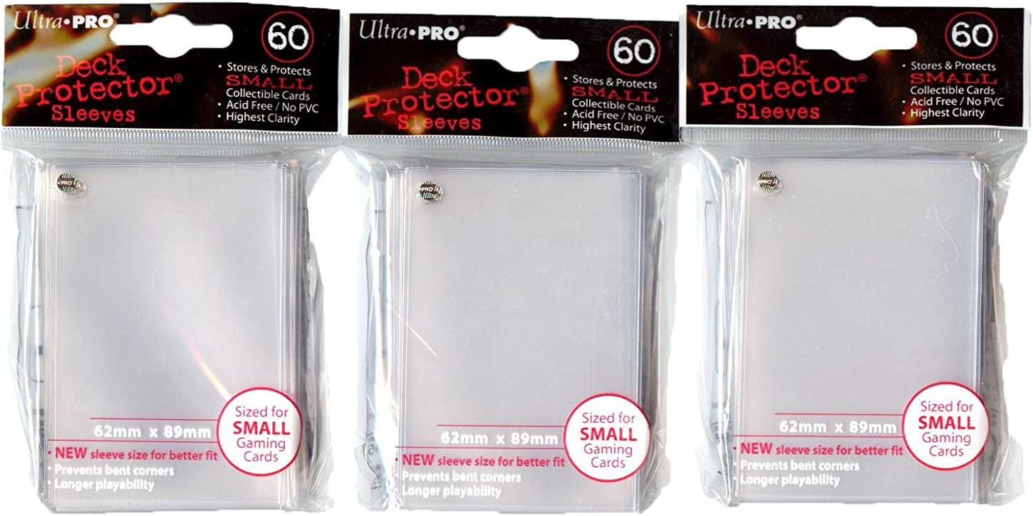 Ultra Pro Card Supplies YuGiOh Sized Deck Protector Sleeves Clear 60Count X3 by