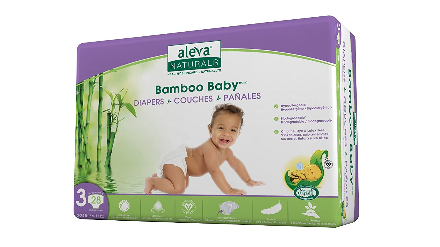 Amazon.com: Aleva Naturals Bamboo Baby Diapers, Size 3, (13-24 lbs / 6-11 kgs) 28 Count: Health & Personal Care