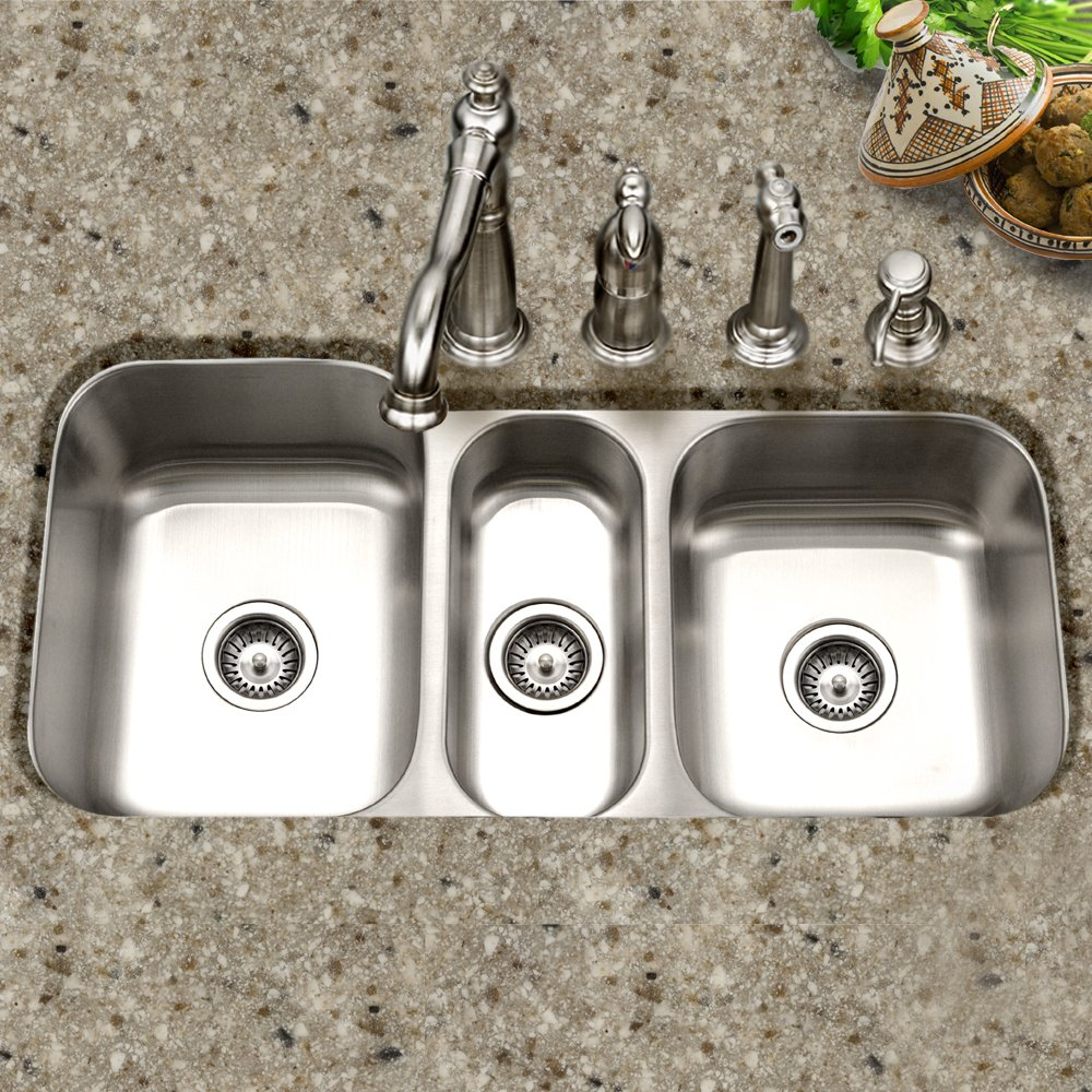 Houzer MGT-4120-1 Medallion Gourmet Series Undermount Stainless Steel Triple Bowl Kitchen Sink by HOUZER (Image #2)