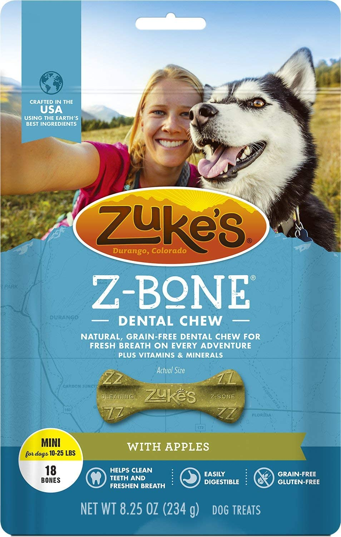 Zuke's Z-Bone with Apples Dental Dog Treat, Mini, 18 Count, 4 Pack