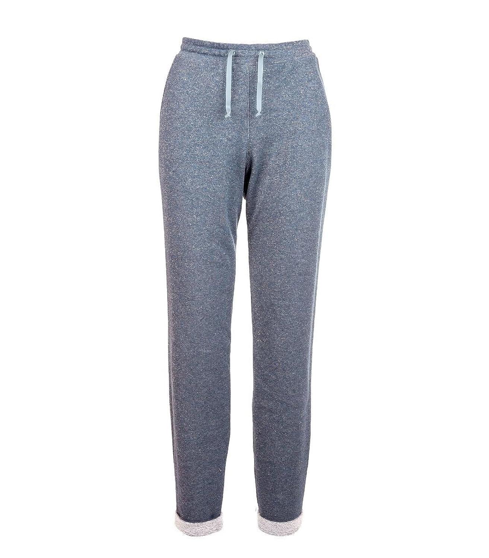 Aprico Sweathose in Blau mit Glitzer für Damen Baumwolle Hose Stretch große Größen Blau 40 42 44 46 48