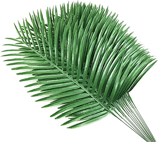 Amazon Com 12pcs Artificial Palm Plants Leaves Imitation Leaf Artificial Plants Green Greenery Plants Faux Fake Tropical Large Palm Tree Leaves For Home Kitchen Party Flowers Arrangement Wedding Decorations Furniture Decor