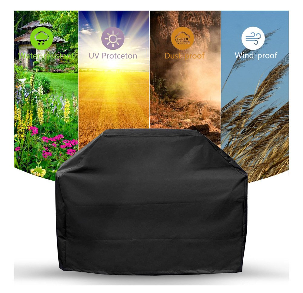 Comfysail Barbecue Cover, Heavy Duty Durable Waterproof 190T Polyester Black BBQ Grill Cover Large with Carrying Bag