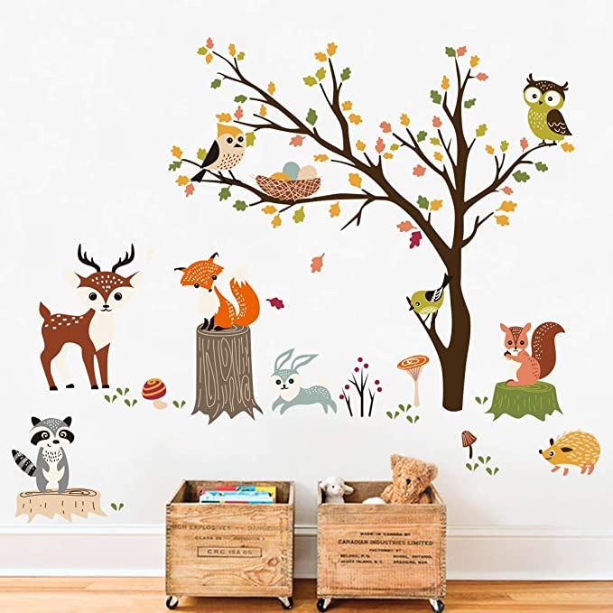 Decalmile Animals Tree Wall Decals Owl Fox Deer Wall Stickers Kids Bedroom Baby Nursery Wall Decor Amazon Ca Home Kitchen