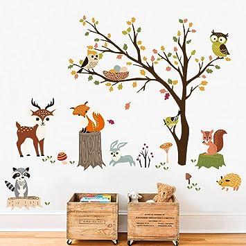 Amazon Com Decalmile Woodland Wall Decals Animals Tree Owl Fox Deer Wall Stickers Kids Bedroom Baby Nursery Wall Decor Home Kitchen