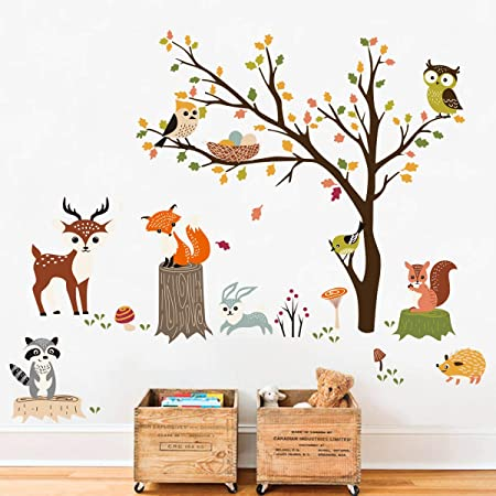 Decalmile Animals Tree Wall Decals Owl Fox Deer Wall Stickers Kids Bedroom Baby Nursery Wall Decor Amazon Co Uk Kitchen Home
