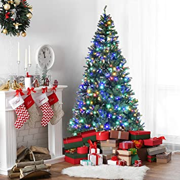 Image Unavailable - Amazon.com: Goplus 8FT Pre-Lit Artificial Christmas Tree Auto-Spread