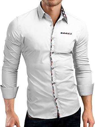 Grin&Bear Slim Fit Shirt Hemd Herrenhemd Kontrast Knopfleiste, weiss, S,  SH00528
