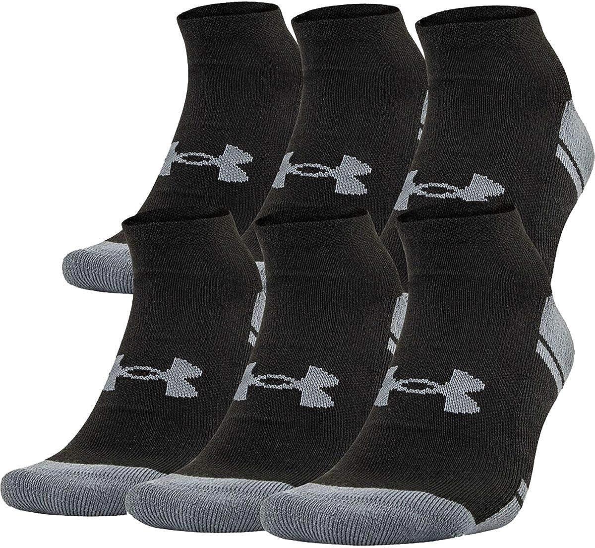 Under Armour Resistor 3.0 No Show Sock - 6-Pack - Men's Black/Graphite, 10.0-13.0