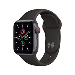 Apple Watch SE (GPS + Cellular, 40mm) - Space Gray Aluminum Case with Black Sport Band (Renewed)