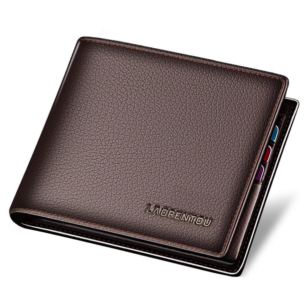LAORENTOU Leather Bifold Wallet Men Short Wallet Vintage Cowhide Casual Man Purse (brown1)
