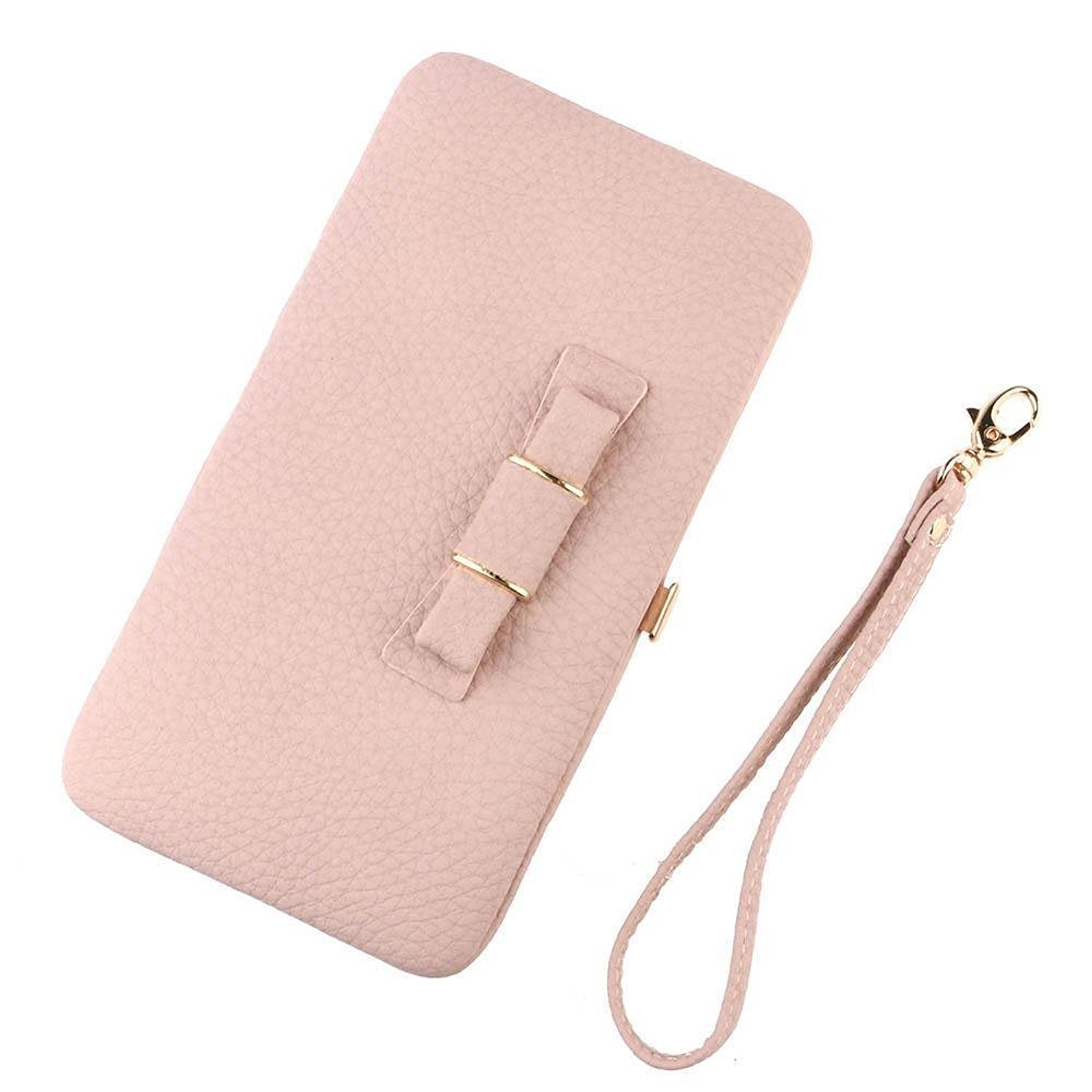 TraderPlus Womens Leather Phone Clutch Wallet Credit Card Purse Bow-Knot Handbag