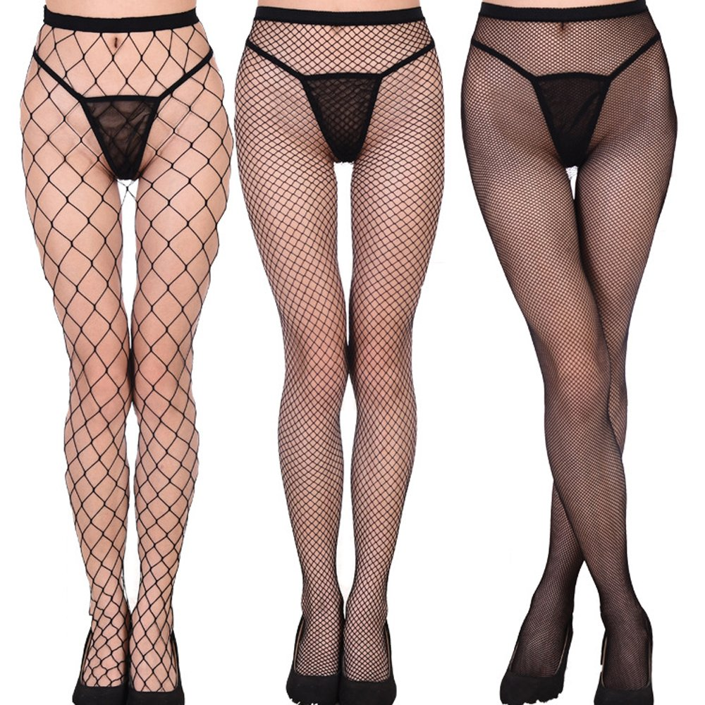 597557e4f50ec Fishnet Stockings for Women Teen Girls, Sexy Net Pantyhose Mesh Tights  (Pack of 3): Amazon.co.uk: Clothing