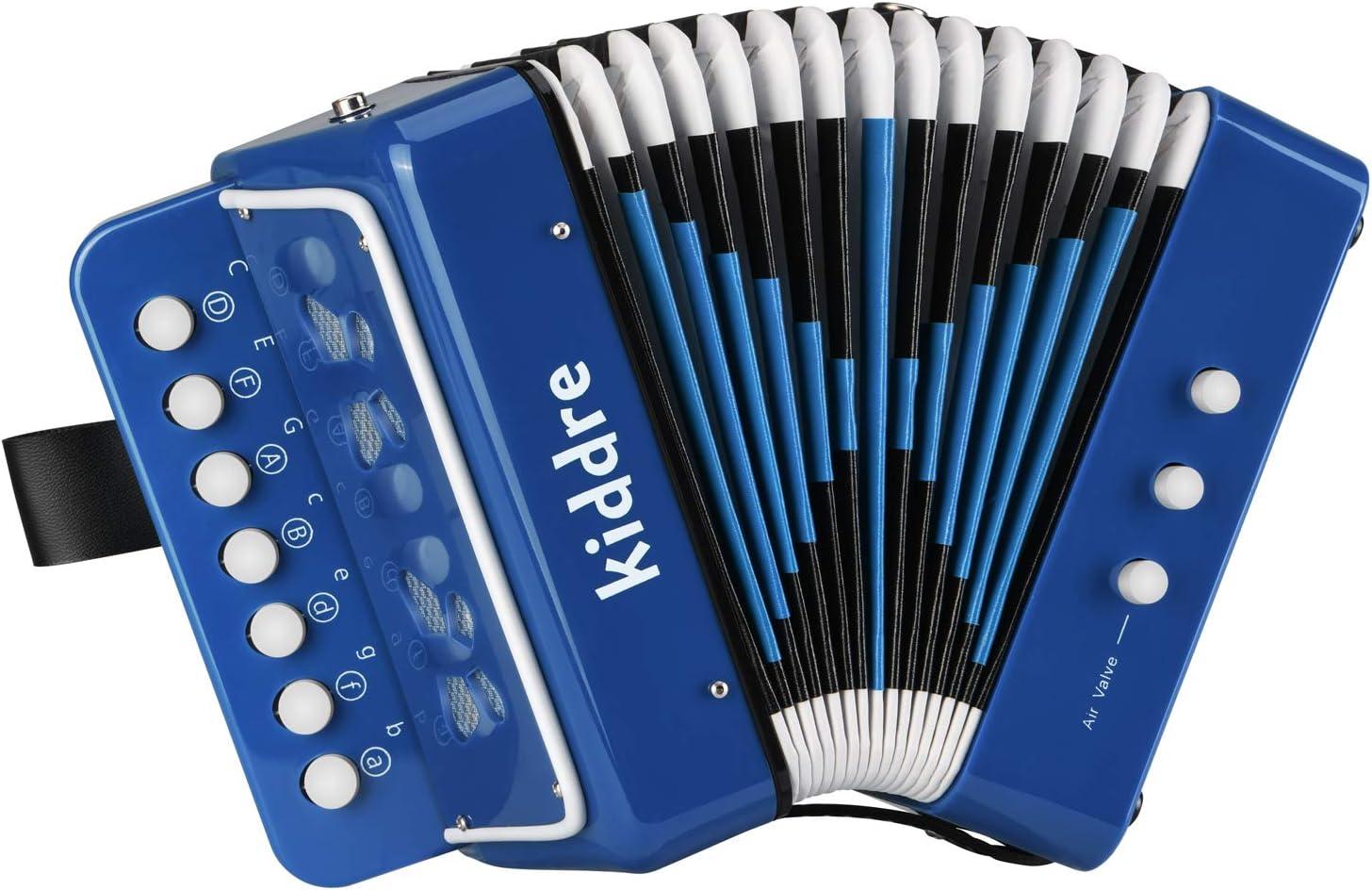 Kiddire Acordeón 7 Keys para Niños con Correas Juguete de Rhythm Band Color Azul