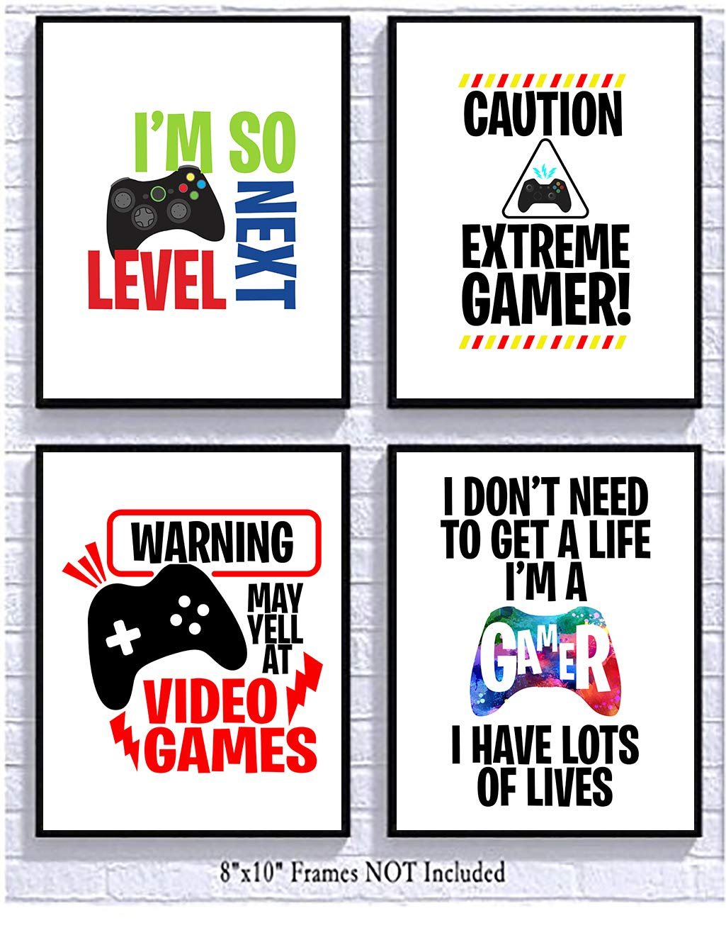 Bright Video Gamer Themed Art Print Room Wall Decor Mix and Match (May Yell) by Silly Goose Gifts