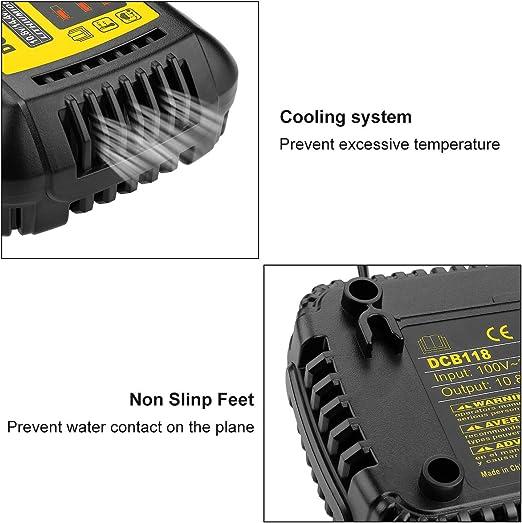 DCB203 DCB204BT DCB205BT y DCB606 DCB127 DCB204 Energup DCB120 10,8-18 V DCB205 DCB200 Cargador de ion de litio para DeWalt DCB118