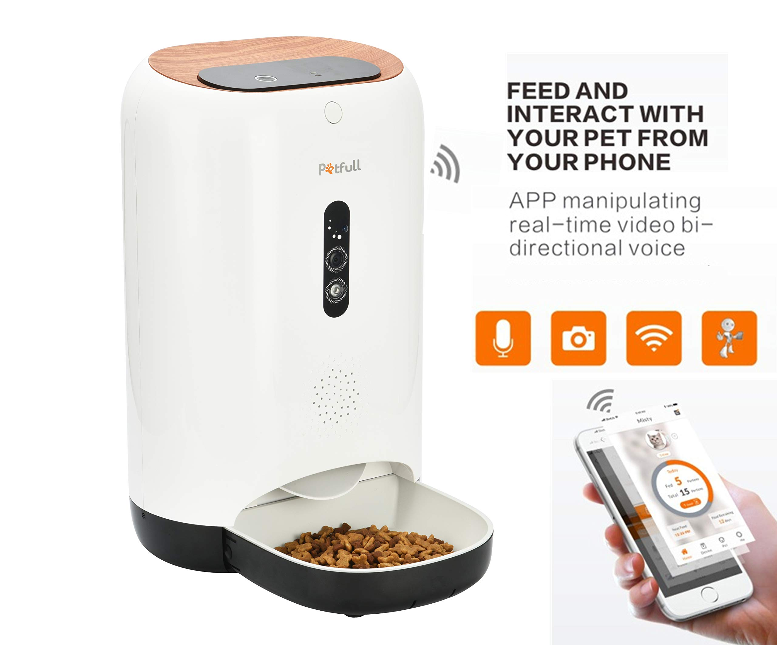 Petfull Smart Auto Pet Feeder with WiFi App Control HD-Camera Infrared for Dog Cat, 5L Large Capacity, Food Dispenser, Portion Control, Time Programmable, Back-up Power,Video Picture,Interact,Voice