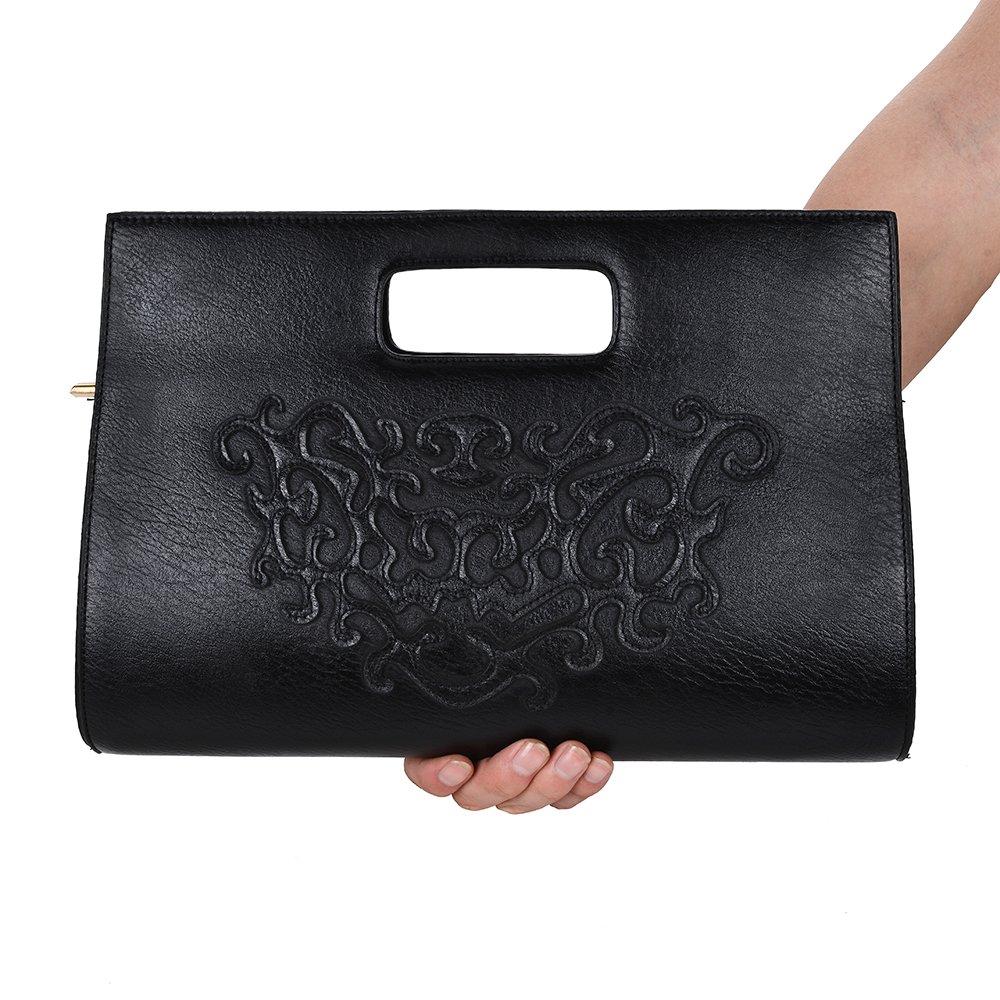 VRLEGEND Leather Top Handle Handbags Crossbody Shoulder Bag Tote Wallet Purse Evening Clutch Bag for Women (Black) by VRLEGEND (Image #5)