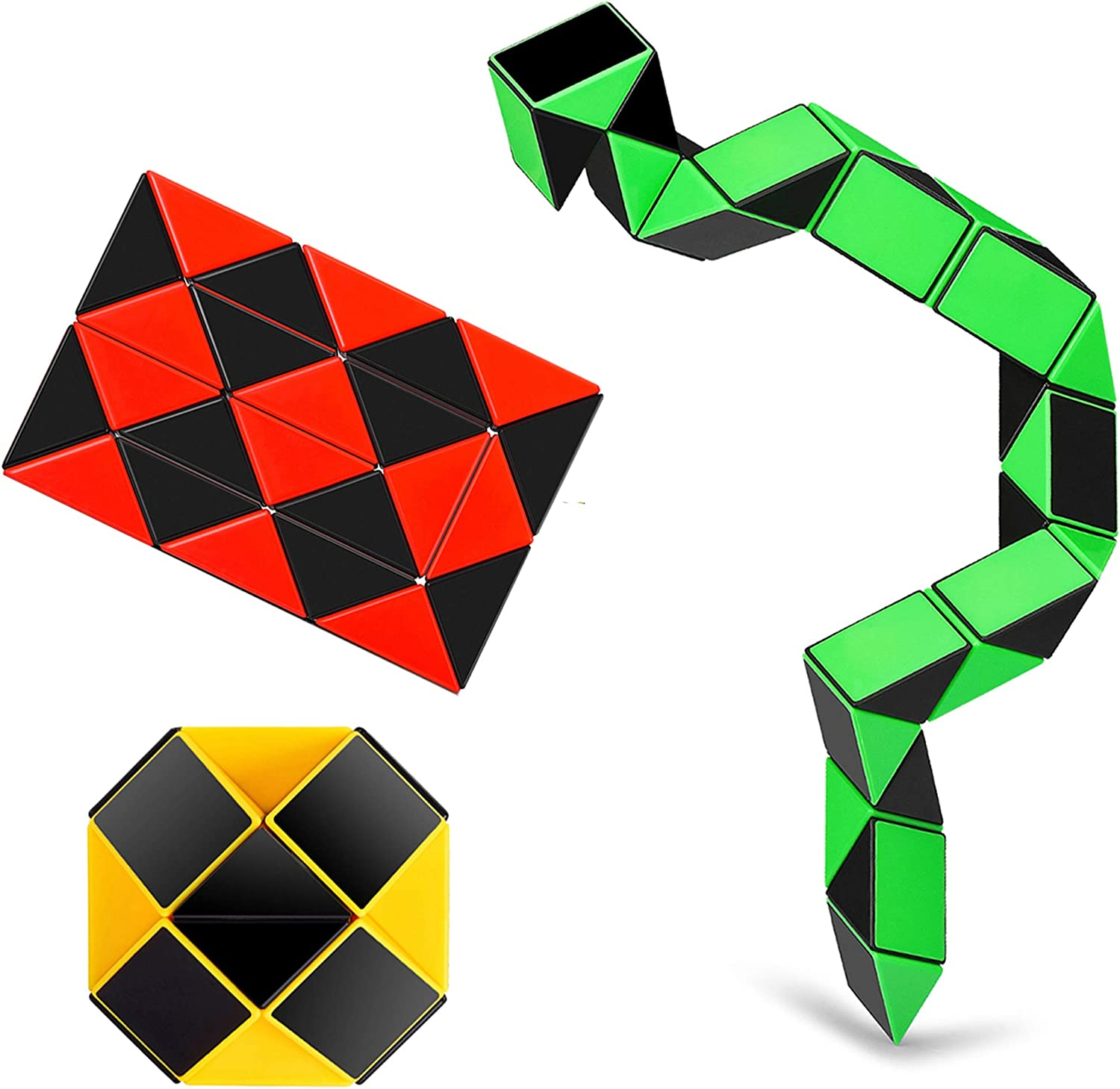Ganowo 3PCS Big Size Fidget Snake Cube Magic Twist Puzzle Toys Birthday Party Favors Christmas Stocking Stuffers Goodie Bags Fillers for Kids Boys Teens Adults