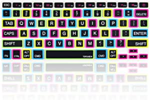 "TOP CASE Candy Black Keyboard Cover Skin Compatible with MacBook 13"" Unibody/Old Generation MacBook Pro 13"" 15"" 17"" with or Without Retina Display/MacBook Air 13"" / Wireless Keyboard"