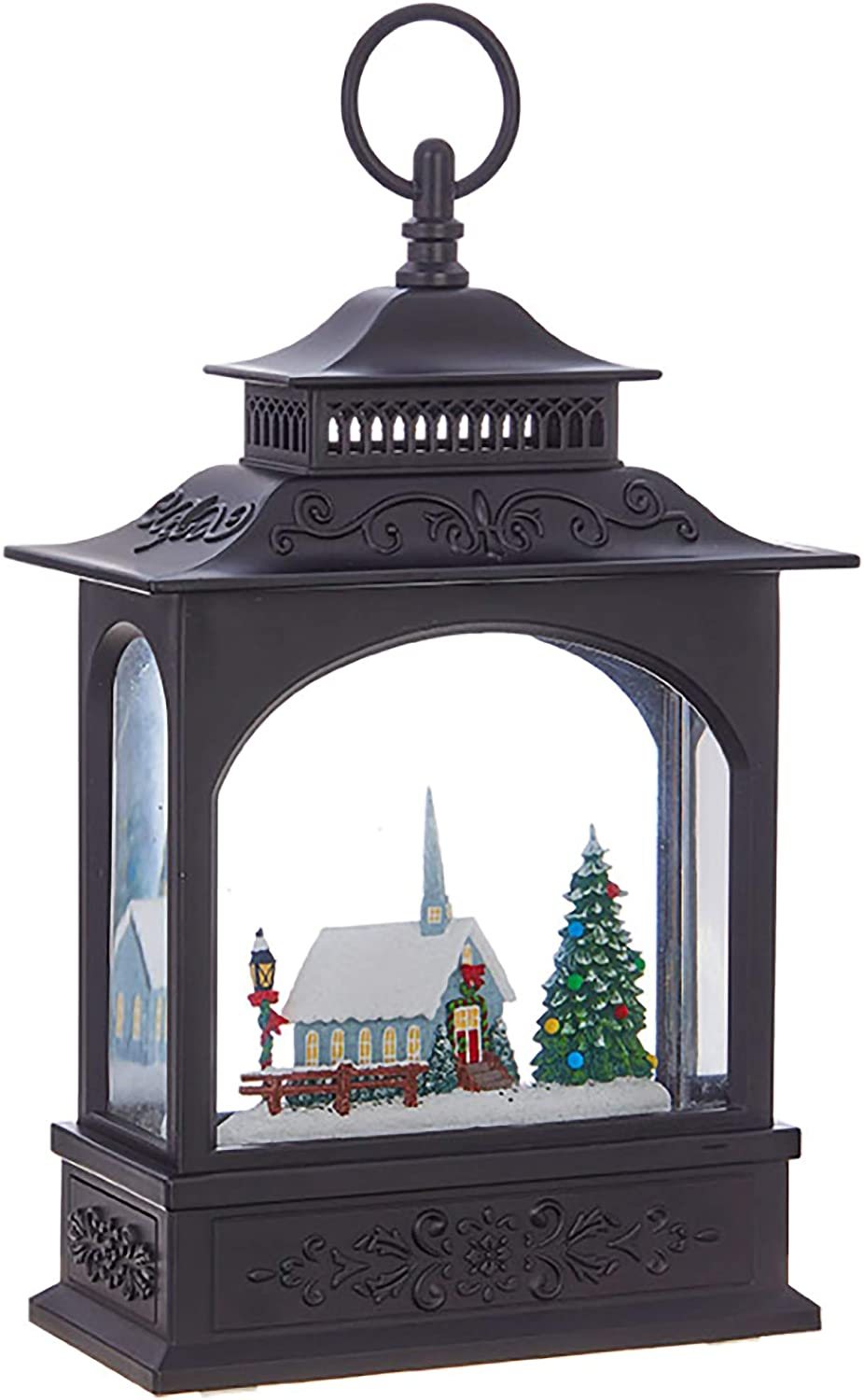 Raz Imports Lighted Church Spinning Christmas Water Snow Glitter Globe Lantern Decor, 11 Inch, Battery Operated Or USB with Timer