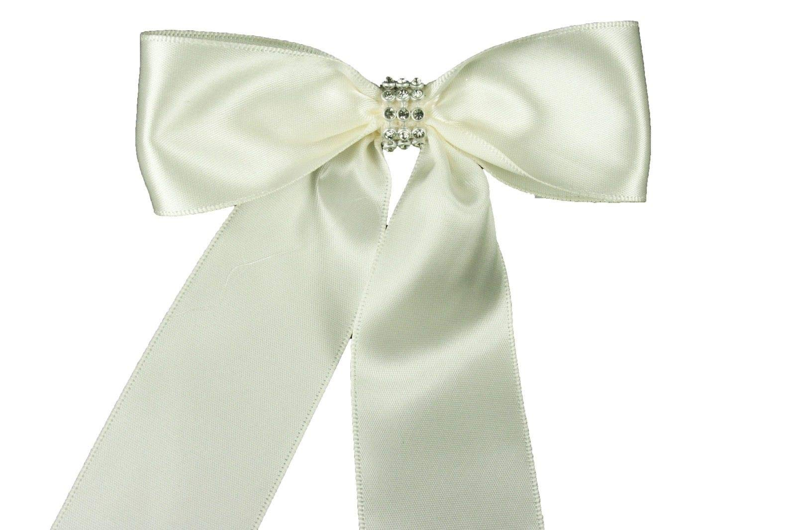 Bright Sun Antique White (Set of 10) Pre-Made 1-1/2'' Satin Bows Rhinestone Center Design with Wire Tie #DPNH