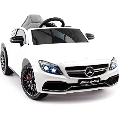 Emr Distributors Mercedes C63S Battery Powered 12V Kids Ride-ON Toy CAR with R/C Parental Remote MP3 Player LED Wheels (White): Toys & Games