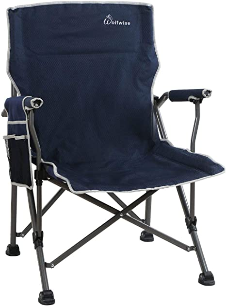 Oversized Club Camp Chair 500-lb Cap Foldable Steel Frame Trail Outdoor BBQ Yard