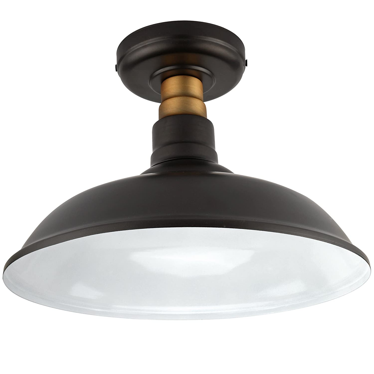 Vintage Semi Flush Mount Ceiling Light, Oil Rubbed Bronze/Antique Brass Finish,Industrial Ceiling Lamp Fixture Suitable for Bedroom Living Room Hallway,E26 Medium Base