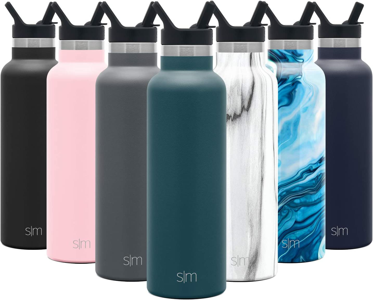 Simple Modern 20oz Ascent Water Bottle with Straw Lid - Stainless Steel Hydro Tumbler Flask - Double Wall Vacuum Insulated Small Reusable Metal Leakproof -Riptide