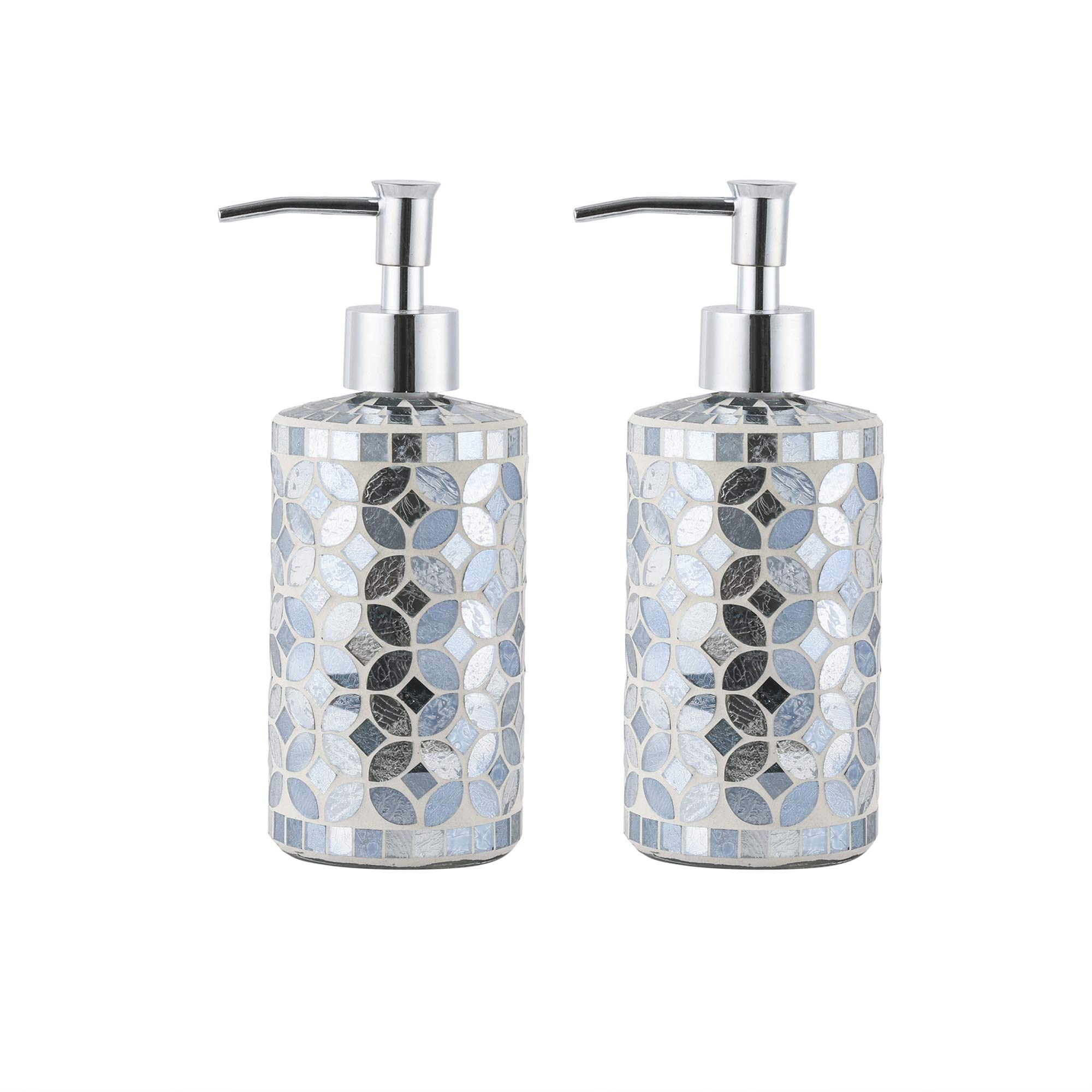 WH Housewares Set of 2 Soap Dispenser-Lotion Bottle-12OZ-Mosaic Glass with Chrome Plated Plastic Pump(Blue Ink)