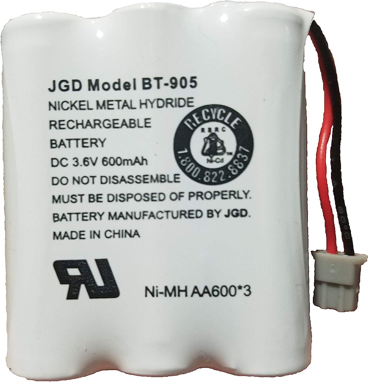 JGD BT-905 BT-800 BBTY0663001 Battery Compatible with Uniden BT905 BT800 BT-1006 BP-905BBTY-0444001 BBTY-0449001 Panasonic P-P501 P-P508 at&T 200 24032 Cordless Telephones