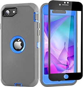 iPhone SE 2020 Case with Screen Protector Tempered Glass, Military Grade Rugged Heavy Duty Full Body Protection Anti-Scratch Shockproof Cover for iPhone SE2020 (2nd Gen) 4.7