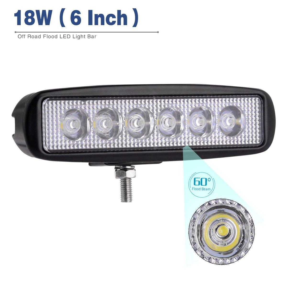 Amazon.com: YITAMOTOR LED Light Bar,2PCS 18W 6Inch Flood LED Work ...