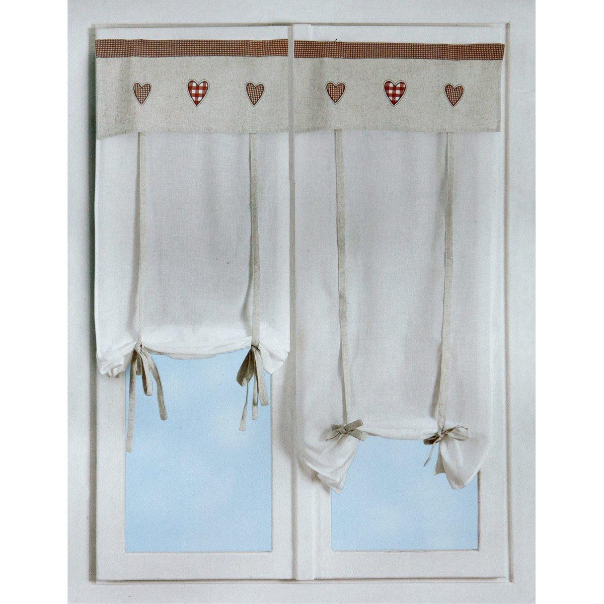 CARILLO Coppia Tende tendine regolabili vetro finestra 60x230 cm ...