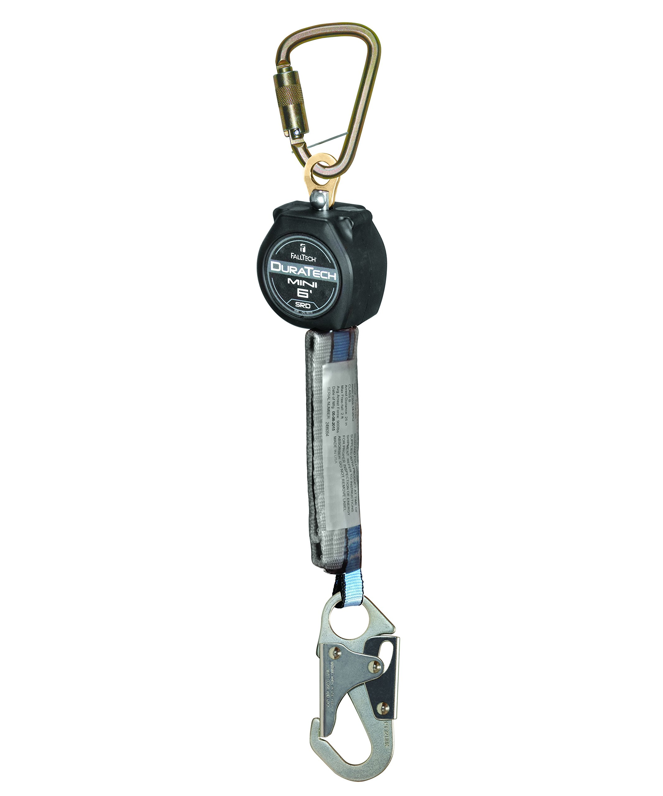 FallTech 72706SB1 MINI DuraTech 6' Compact Web Self-retracting Lifeline - 6' Mini SRD Single-Leg Steel Carabiner and Steel Snap Hook, 6', Black