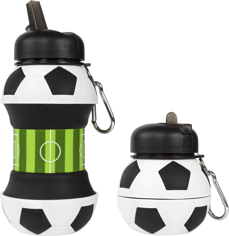 Fringoo - Botella de Silicona Plegable para niños (500 ml, con mosquetón, a Prueba de Fugas, sin BPA, para Viajes, Deportes, Bebidas)