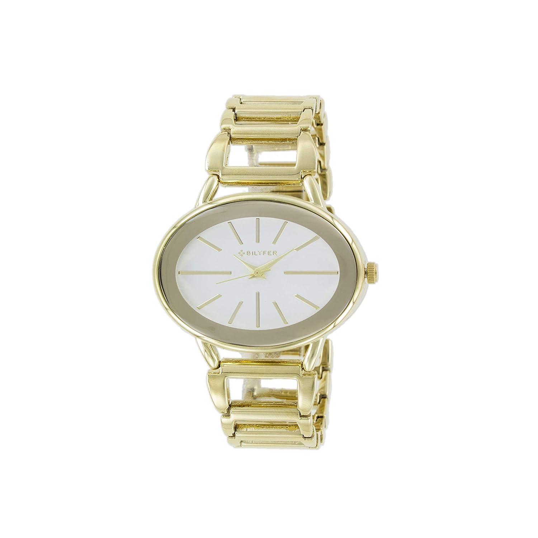 Reloj Bilyfer para Mujer con Correa Dorada y Pantalla en Blanco 3P543-D: Amazon.es: Relojes