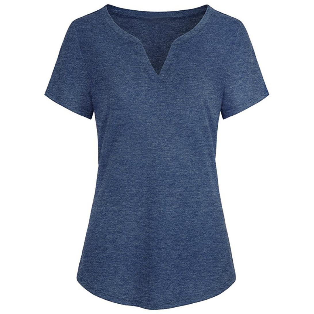 ASTV Women Plus Size Short Sleeve Curved Hem Henley Blouse Tops Shirt
